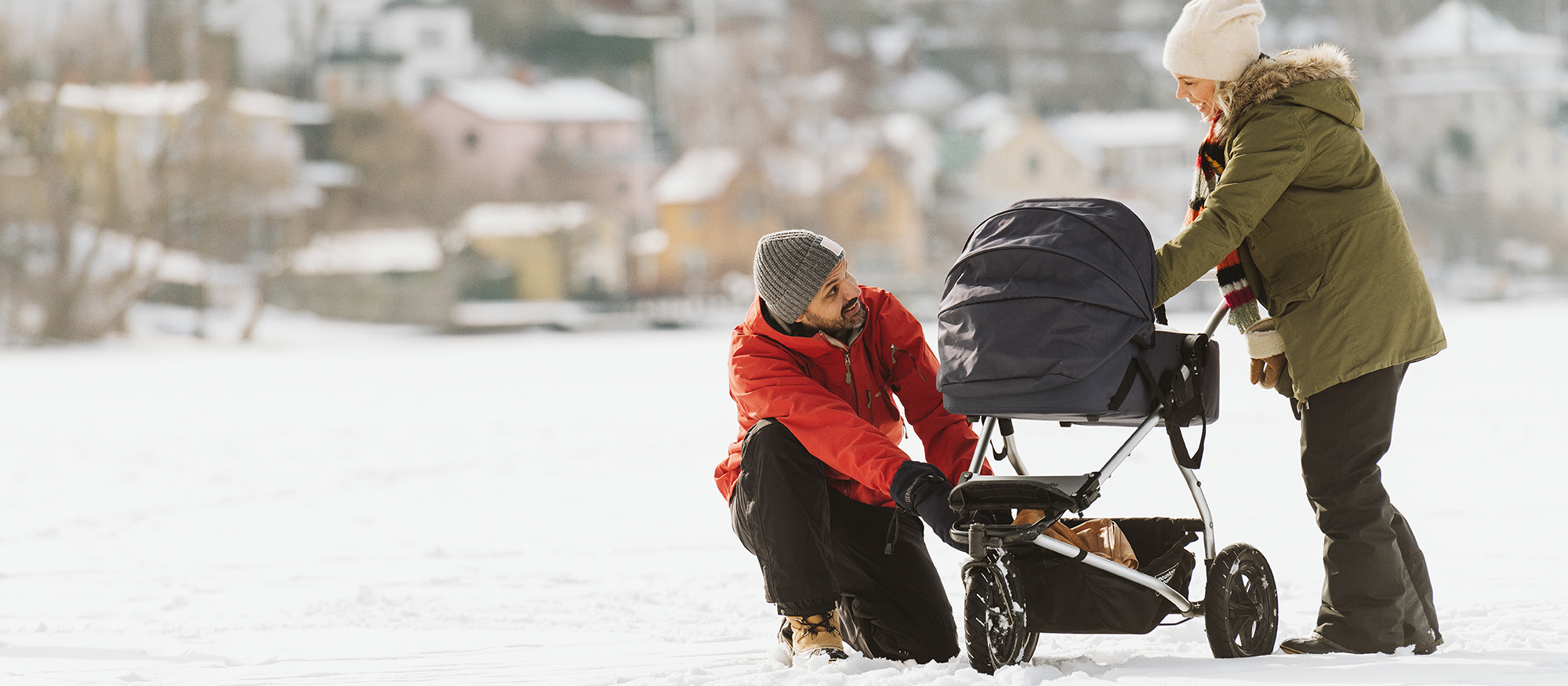 A winter walk with the stroller.